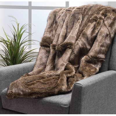 Ballys Faux Fur Throw Blanket Color: Dark Brown