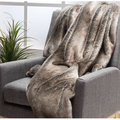 Ballys Faux Fur Throw Blanket Color: Ash White