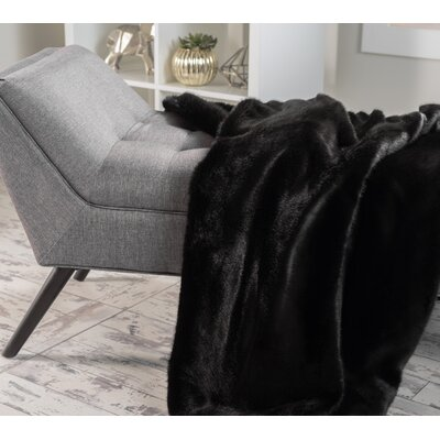Ballys Faux Fur Throw Blanket Color: New Black