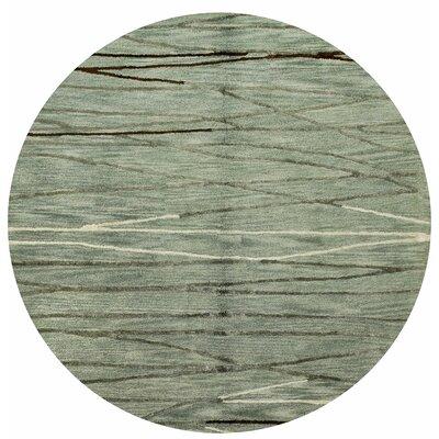 Glenwood Hand-Tufted Aqua Area Rug Rug Size: Round 6