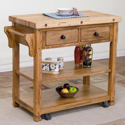 Fresno Kitchen Island with Butcher Block Top