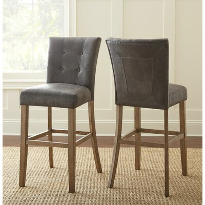 Dejardins 30 Bar Stool (Set of 2) Upholstery: Gray