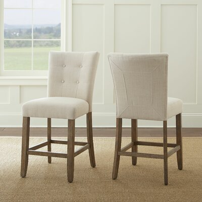 Corona Counter Height Side Chair (Set of 2) Upholstery: Beige