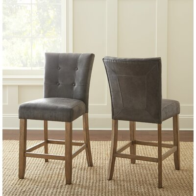 Corona Counter Height Side Chair (Set of 2) Upholstery: Gray