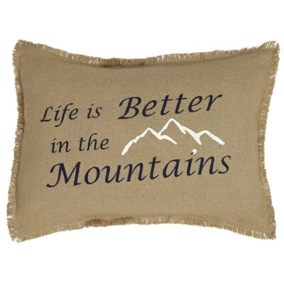 Chamond Life is Better-Mountains Burlap Throw Pillow