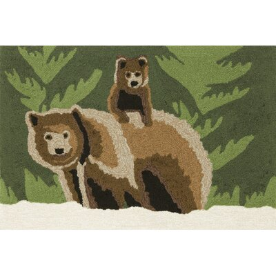 Folsom Bear Family Green Indoor/Outdoor Area Rug Rug Size: 26 x 4