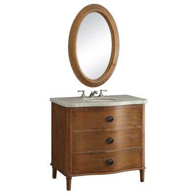 Vanna 36 Bathroom Vanity Set with Mirror Top Finish: Marble Banty White
