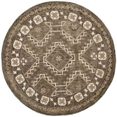 Concho Creek Hand-Tufted Brown/Taupe Area Rug Rug Size: Round 5