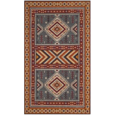 Herblain Red/Yellow Area Rug Rug Size: Rectangle 3 x 5