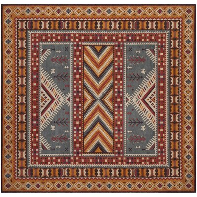 Herblain Red/Yellow Area Rug Rug Size: Square 6
