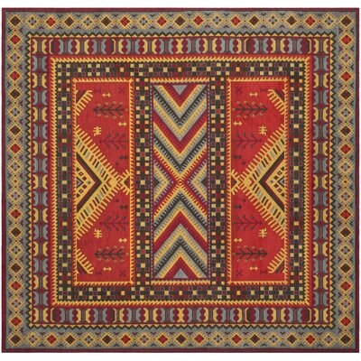 Herblain Red Indoor Area Rug Rug Size: Square 6