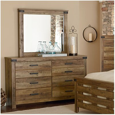 Piegan 6 Drawer Double Dresser with Mirror