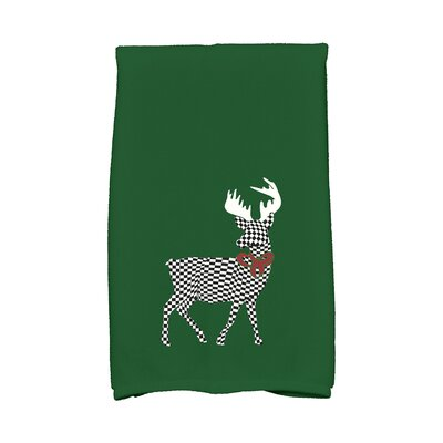 Merry Deer Hand Towel Color: Green