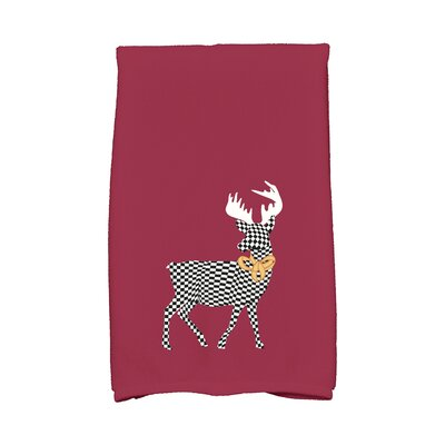 Merry Deer Hand Towel Color: Cranberry