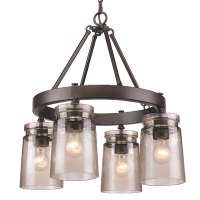 Rock River 4-Light Chandelier Finish: Etruscan Bronze, Shade Color: Frosted
