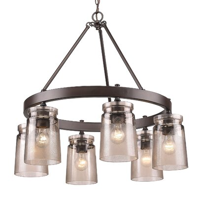 Rock River 6-Light Candle-Style Chandelier Finish: Etruscan Bronze, Shade Color: Frosted