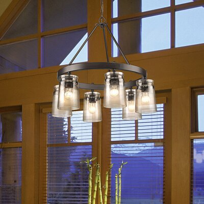 Rock River 6-Light Candle-Style Chandelier Finish: Etruscan Bronze, Shade Color: Amber