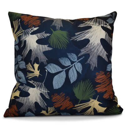 Brookfield Watercolor Leaves Floral Print Throw Pillow Color: Navy Blue, Size: 18 H x 18 W x 2 D