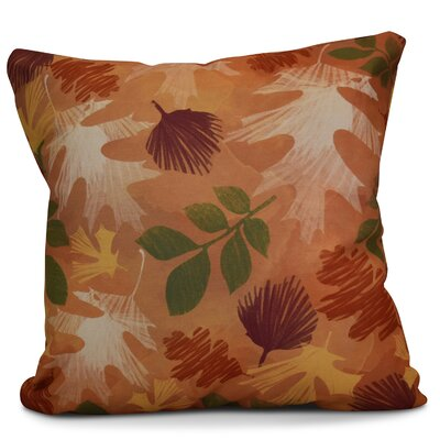 Brookfield Watercolor Leaves Floral Print Throw Pillow Size: 16 H x 16 W x 2 D, Color: Rust