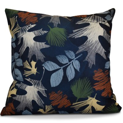 Brookfield Watercolor Leaves Floral Outdoor Throw Pillow Color: Navy Blue, Size: 20 H x 20 W x 2 D
