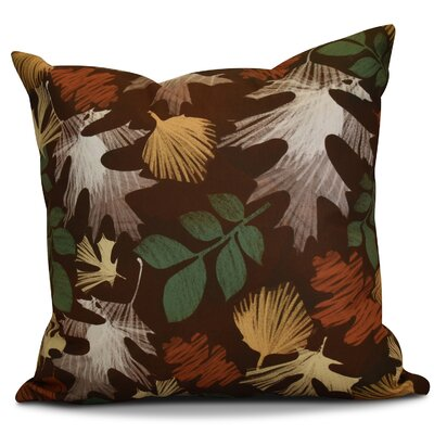 Brookfield Watercolor Leaves Floral Outdoor Throw Pillow Size: 16 H x 16 W x 2 D, Color: Brown