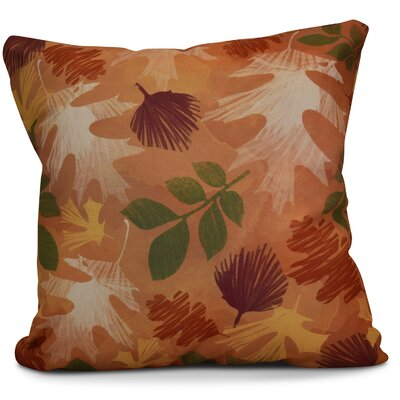Brookfield Watercolor Leaves Floral Outdoor Throw Pillow Size: 16 H x 16 W x 2 D, Color: Rust