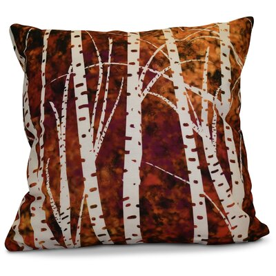 Brookfield Birch Trees Floral Euro Pillow Color: Black