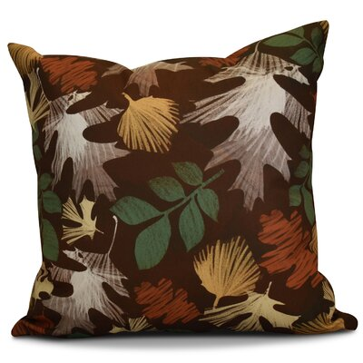Brookfield Watercolor Leaves Floral Print Euro Pillow Color: Brown