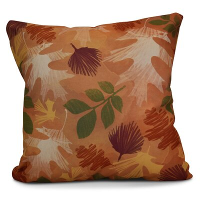 Brookfield Watercolor Leaves Floral Print Euro Pillow Color: Rust