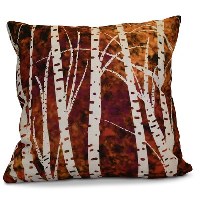 Brookfield Birch Trees Floral Outdoor Throw Pillow Size: 18 H x 18 W x 2 D, Color: Black