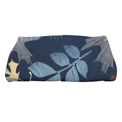 Brookfield Watercolor Leaves Bath Towel Color: Navy Blue