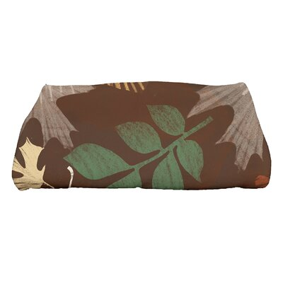 Brookfield Watercolor Leaves Bath Towel Color: Brown