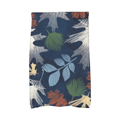 Brookfield Watercolor Leaves Floral Print Hand Towel Color: Navy Blue