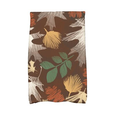 Brookfield Watercolor Leaves Floral Print Hand Towel Color: Brown
