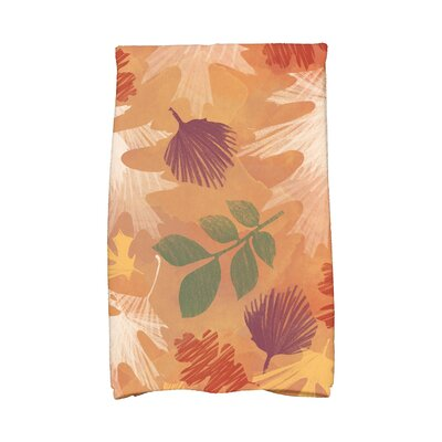 Brookfield Watercolor Leaves Floral Print Hand Towel Color: Rust