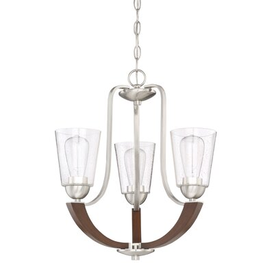 Chryses Brushed Nickel 3-Light Shaded Chandelier