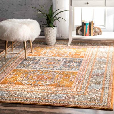 Blythe Yellow Area Rug Rug Size: Rectangle 5 x 75