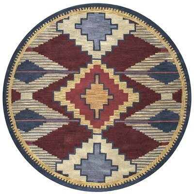 Burge Hand-Tufted Red/Blue Area Rug Rug Size: Round 8