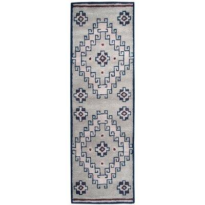 Samoa Hand-Tufted Gray/Blue Area Rug Rug Size: Runner 26 x 8