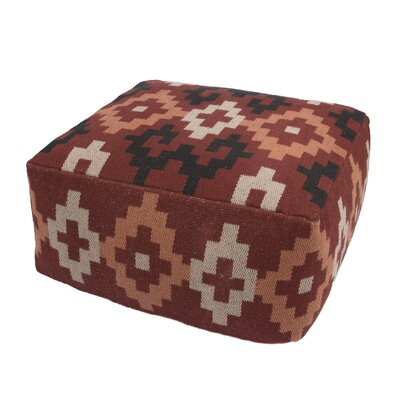 Bourgoin Cotton and Polyester Pouf Ottoman Upholstery: Red/Multi