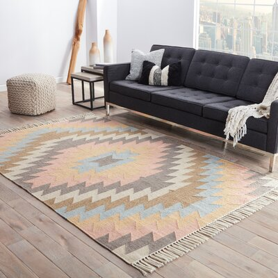 Boquillas Blue & Orange Tribal Indoor/Outdoor Area Rug Rug Size: 36 x 56