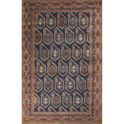 Caesars Hand-Tufted Blue/Orange Area Rug Rug Size: 8 x 11