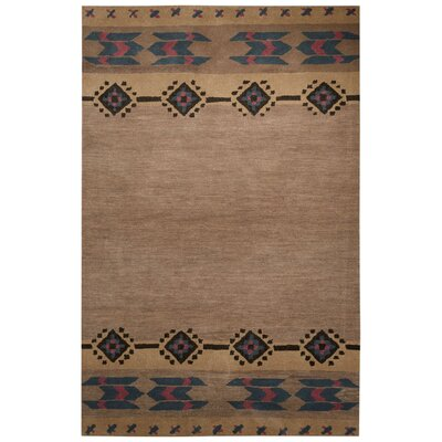 Cadoz Hand-Tufted Tan/Pink Area Rug Rug Size: Rectangle 5 x 8