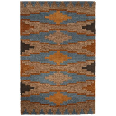 Cadoz Hand-Tufted Tan/Blue Area Rug Rug Size: 5 x 8