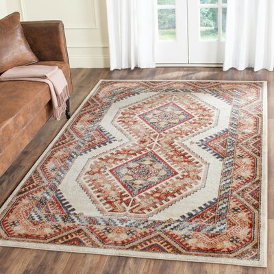 Isanotski Ivory/Rust Area Rug Rug Size: Rectangle 67 x 9