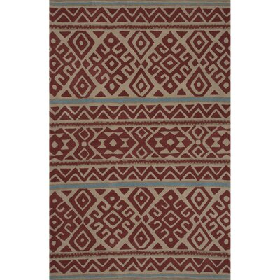 Camarillo Hand Tufted Wool Red Area Rug Rug Size: 5 x 8