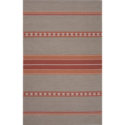 Camarillo Cotton Flat Weave Cement/Red Area Rug Rug Size: 8 x 11