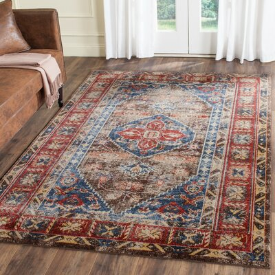 Isanotski Brown/Royal Area Rug Rug Size: 4 x 6