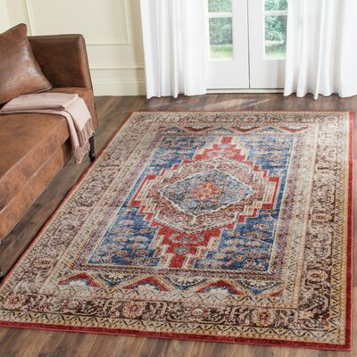 Isanotski Royal/Brown Area Rug Rug Size: Runner 23 x 8