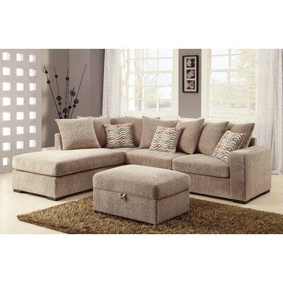 Albin Chaise Reversible Sectional Upholstery: Sand